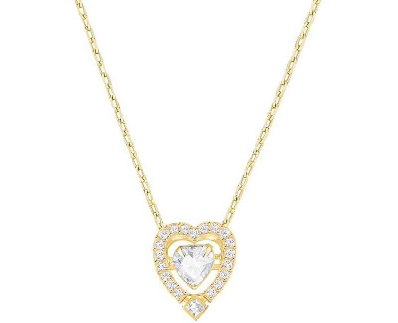 Swarovski Pozlacený náhrdelník se srdíčkem SPARKLING DANCE 5284190