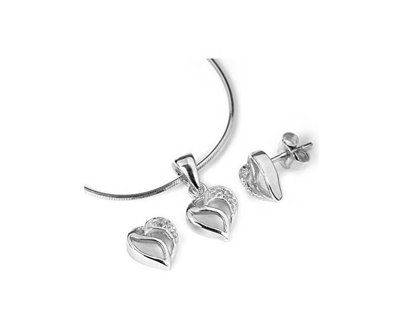 Silvego Set argint JJJS659 Glittering Heart (Cercei, Pandantiv)