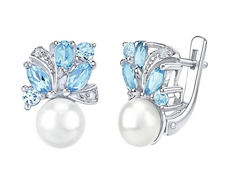 8090583f1 Silvego Stříbrné náušnice MARIANNE s přírodní perlou a pravým topazem  FNJE0434tb