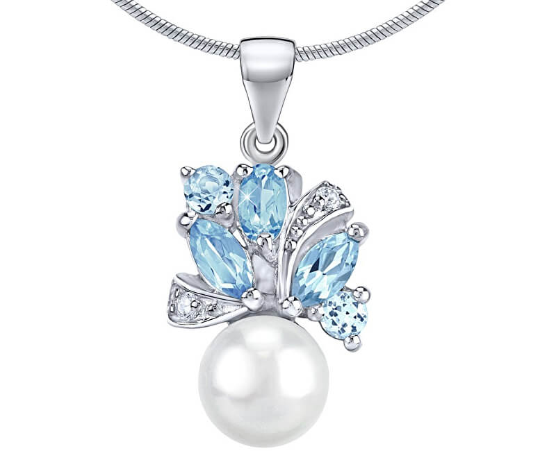Silvego Stříbrný přívěsek MARIANNE s přírodní perlou a pravým topazem FNJP0434TB