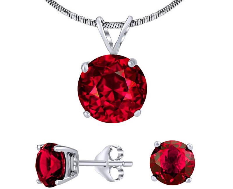 Silvego Stříbrný set šperků s červeným křišťálem JJJS7RR1