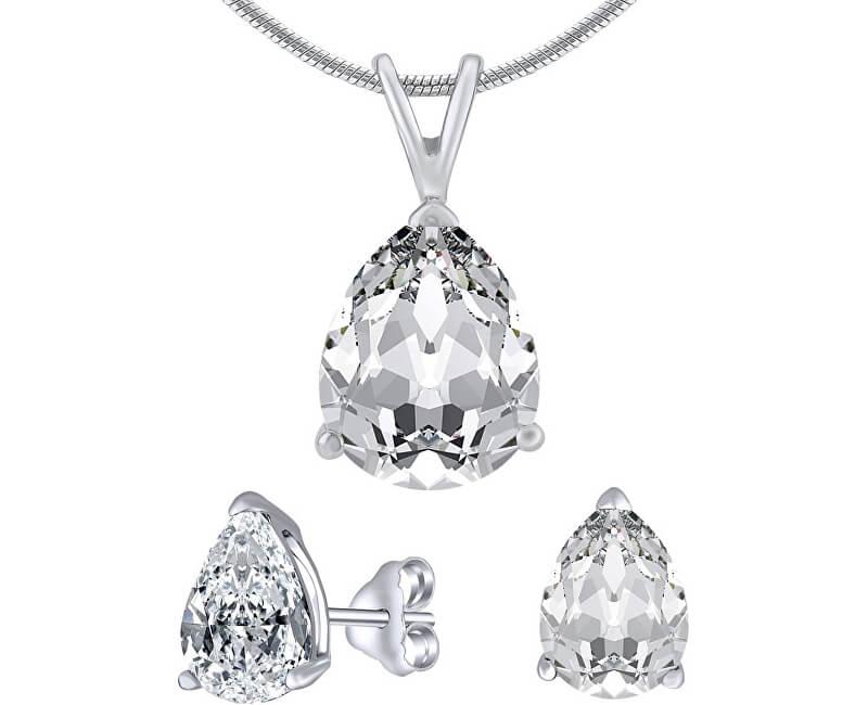 Silvego Stříbrný set šperků s čirým křišťálem JJJS8888 (náušnice, řetízek, přívěsek)