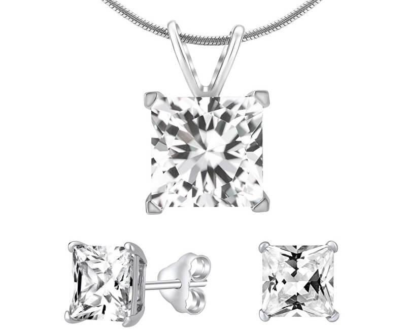 Silvego Stříbrný set šperků s čirým křišťálem JJJSQ55 (náušnice, řetízek, přívěsek)