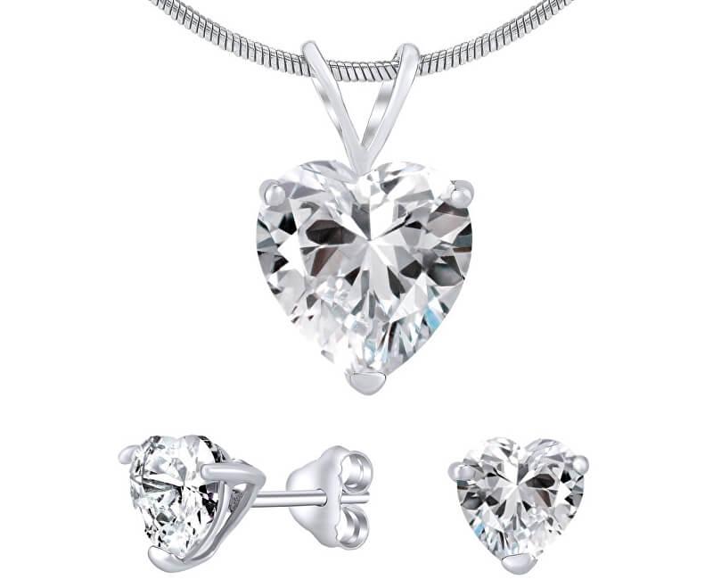 Silvego Stříbrný set šperků s čirým křišťálem JJJHEART01 (náušnice, řetízek, přívěsek)
