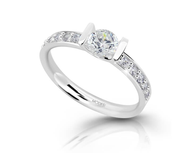 Modesi Stříbrný zásnubní prsten se zirkony M11092 - SLEVA