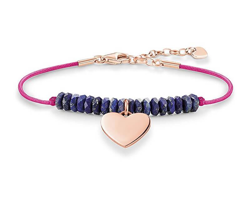 Thomas Sabo Brățară roz cu margele și inimă albastră LBA0081-906-1-L19,5v