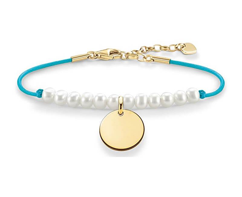 Thomas Sabo Tyrkysový náramek s perličkami a přívěskem LBA0083-900-14-L19,5v