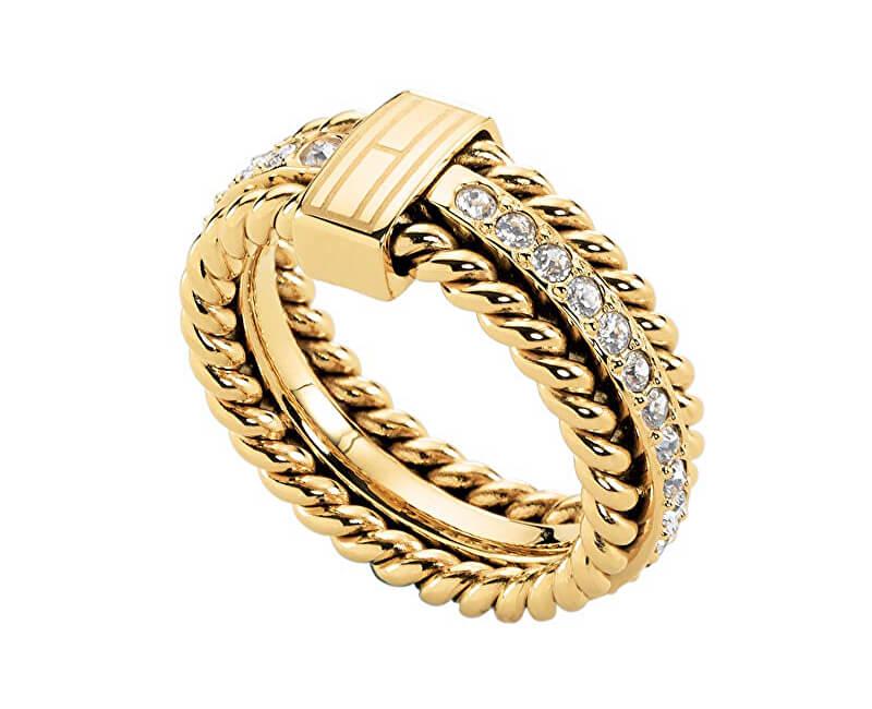 a5d59aee6b Tommy Hilfiger Nádherný pozlacený prsten s krystaly TH2700602 ...