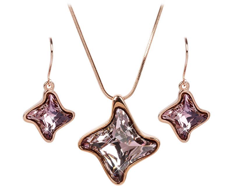 Troli Bronzová sada náhrdelníkov a náušníc Twister Antique Pink