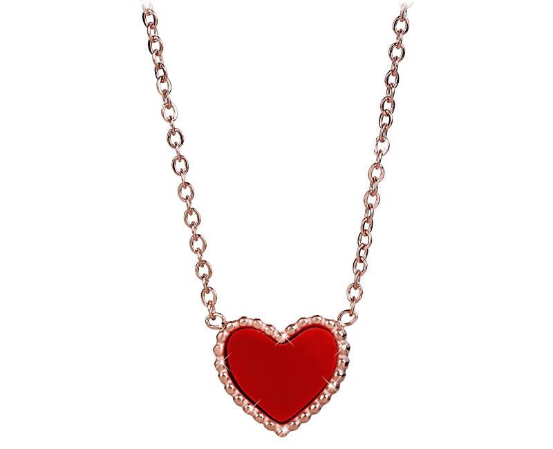 Troli Bronzový náhrdelník s oboustranným srdíčkem (černá/červená)