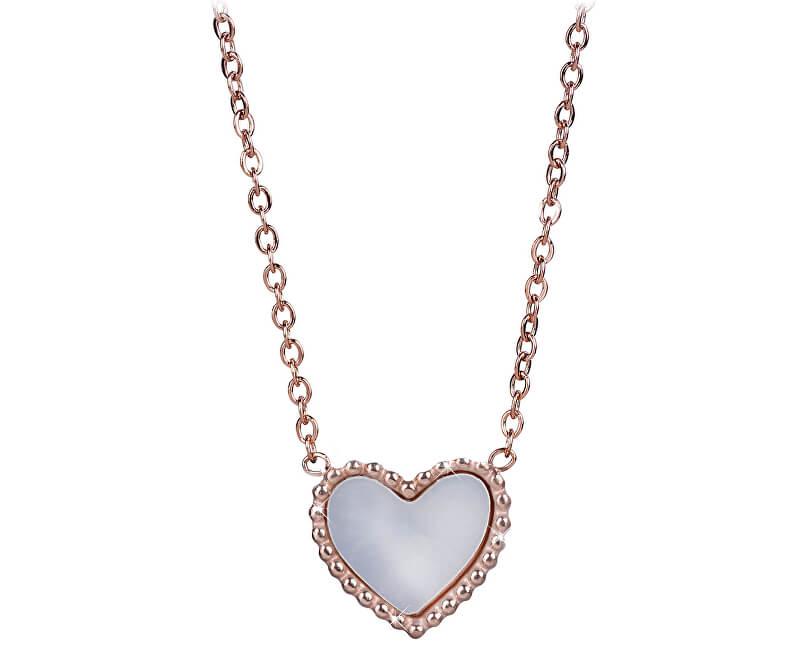 94b912215 Troli Bronzový náhrdelník s oboustranným srdíčkem (černá/perleťová ...