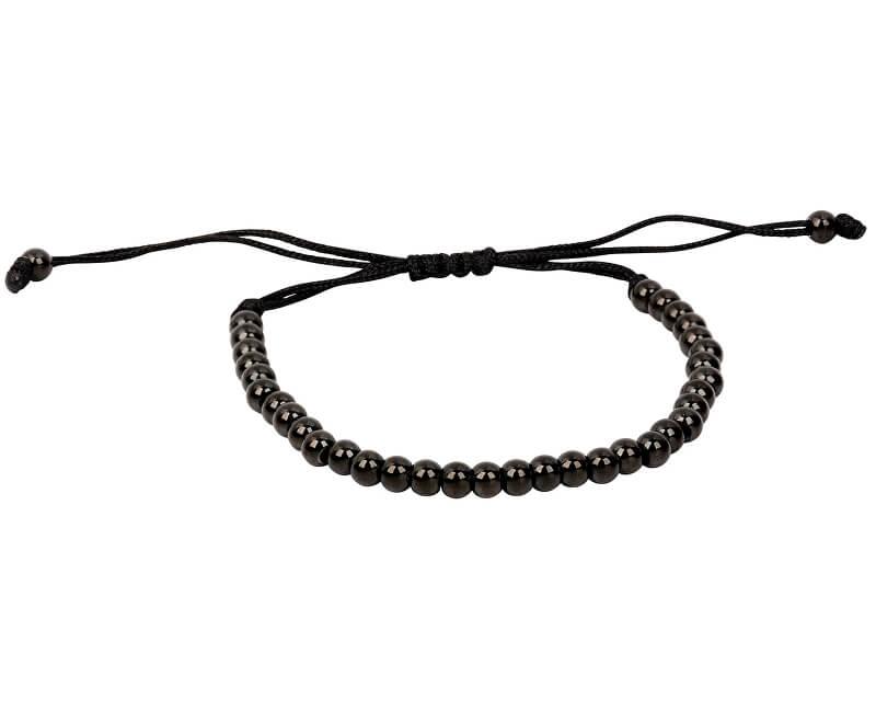 Troli Černý kuličkový náramek z oceli s nastavitelnou délkou