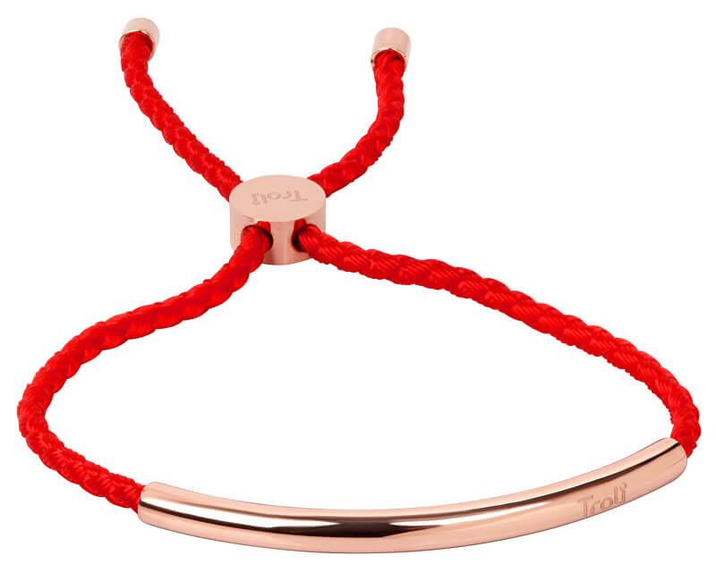 Troli Červený šňůrkový náramek s růžově pozlacenou ocelovou ozdobou