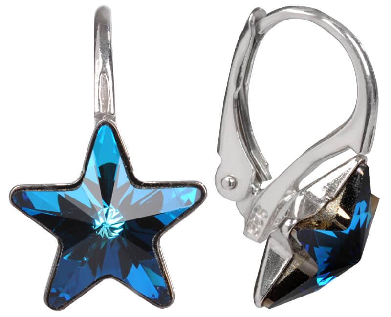 Troli Dievčenské strieborné náušnice Star 10 mm Bermuda Blue