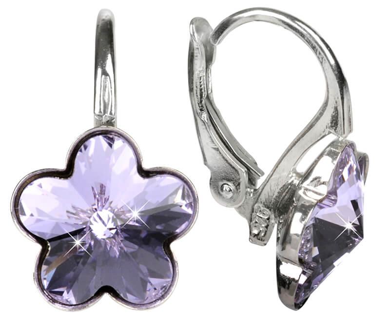 Troli Dievčenské strieborné náušnice Flower Violet