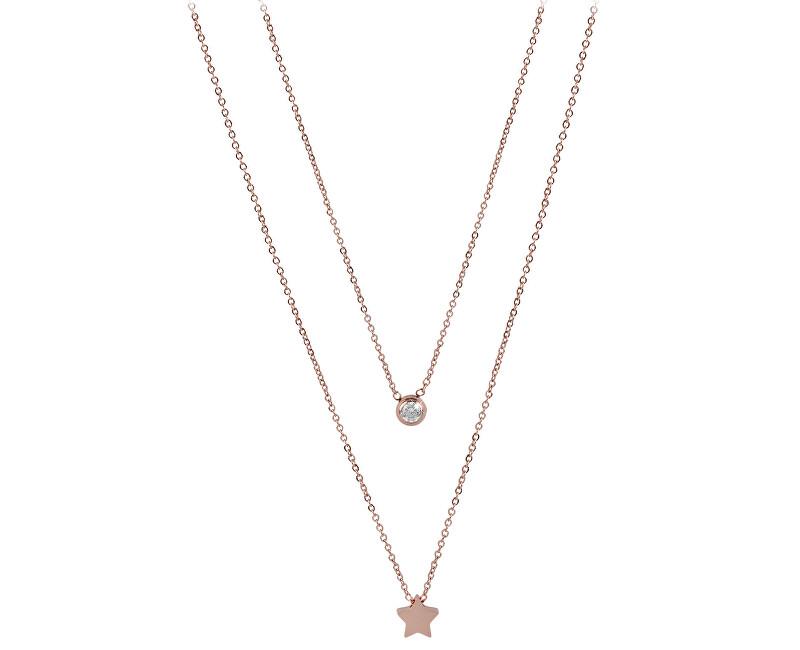 e3634c718 Troli Dvojitý náhrdelník s hviezdičkou z ružovo pozlátenej ocele ...