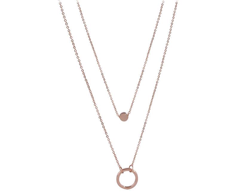 Troli Dvojitý náhrdelník s kroužkovými přívěsky z růžově pozlacené oceli