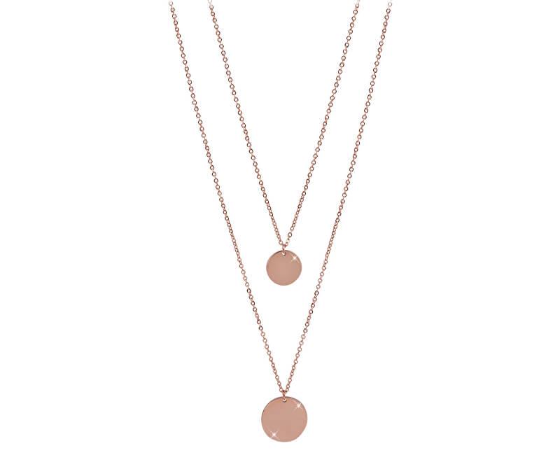 Troli Dvojitý náhrdelník s kruhovými přívěsky z růžově pozlacené oceli