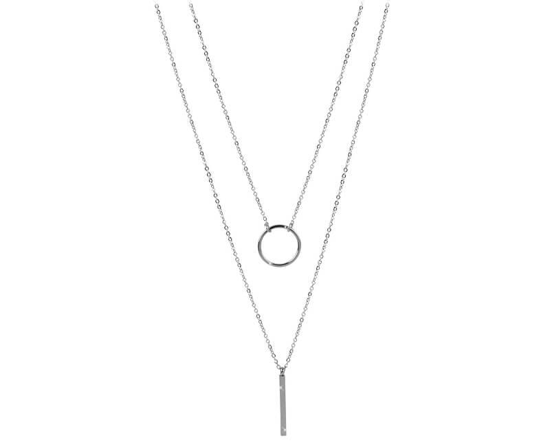 Troli Dvojitý náhrdelník se stylovými přívěsky z oceli