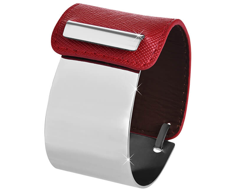 Troli Fashion náramek z oceli a kůže stříbrný/červený