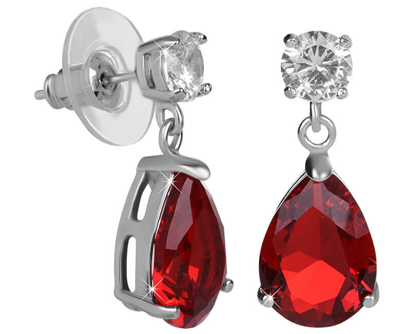 Troli Jiskřivé náušnice s červenými krystaly