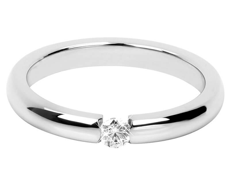 Troli Něžný ocelový prsten s krystalem