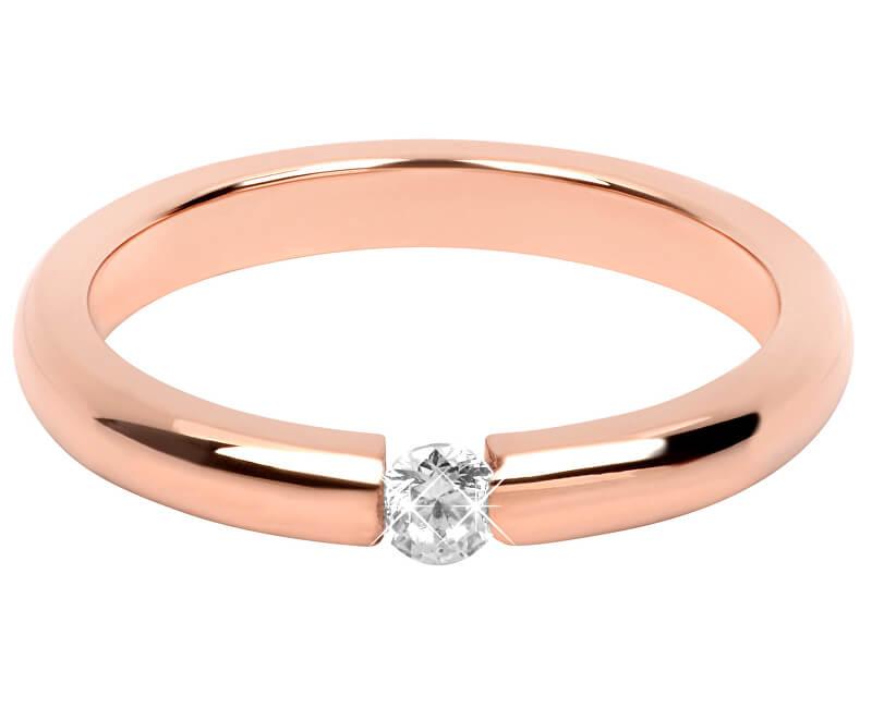 Troli Něžný růžově pozlacený ocelový prsten s krystalem
