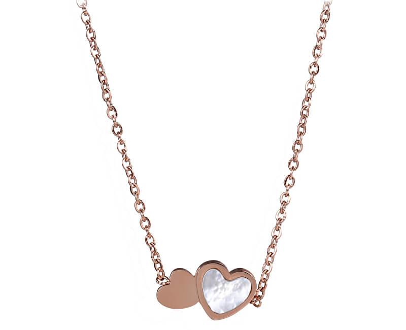 Troli Něžný srdíčkový náhrdelník s perletí
