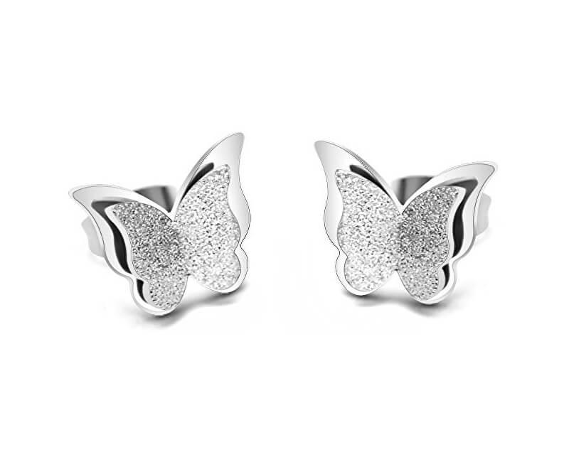 Troli Ocelové motýlí náušnice Metal Butterfly KES-048-SIL