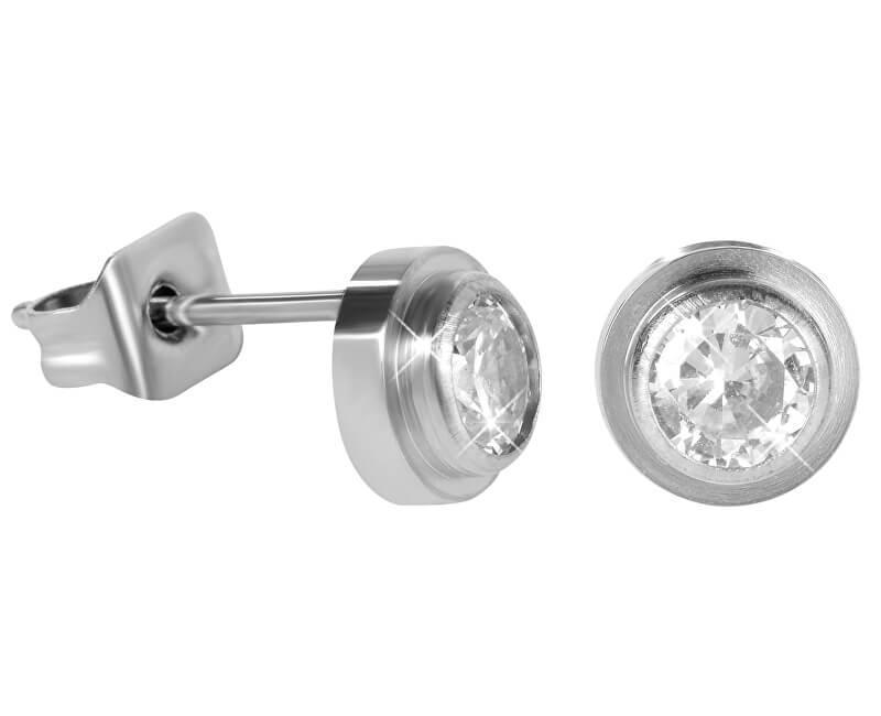 Troli Ocelové náušnice pecičky s krystalem