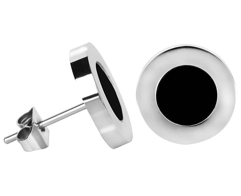 Troli Ocelové náušnice s černým středem Steel