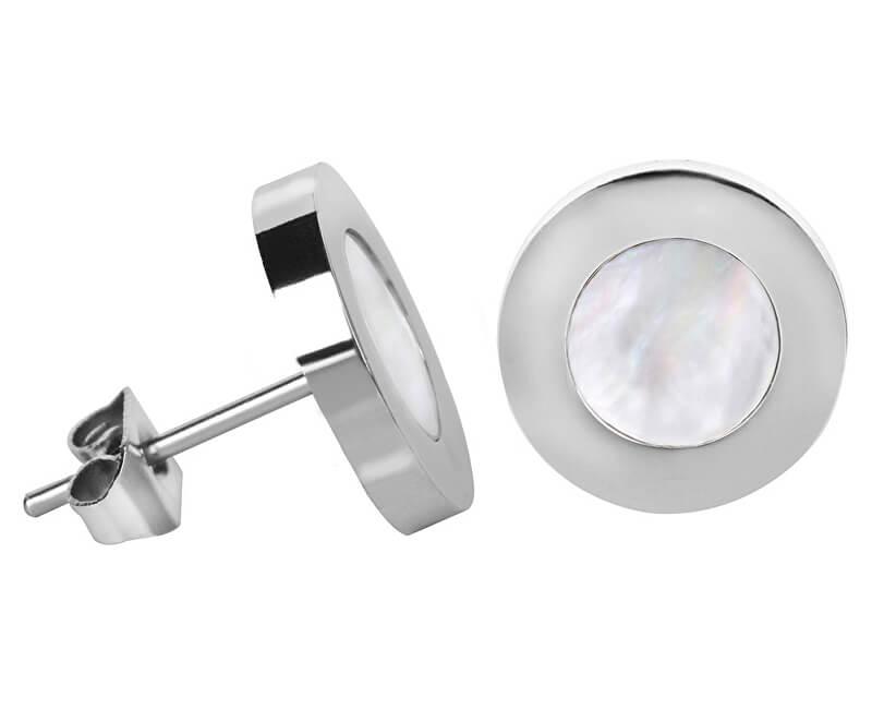 Troli Ocelové náušnice s perleťovým středem Steel