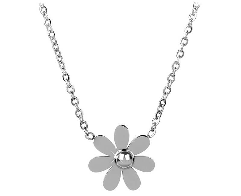 Troli Ocelový náhrdelník s kytičkou
