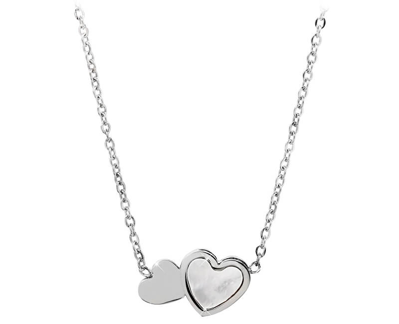 Troli Ocelový náhrdelník s perleťovým srdíčkem