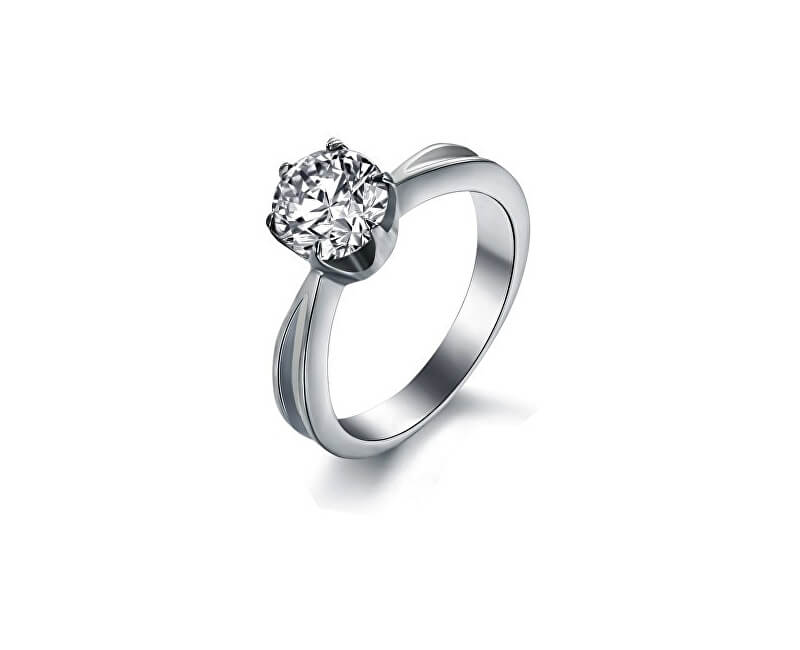 Troli Ocelový prsten s krystalem KRS-174
