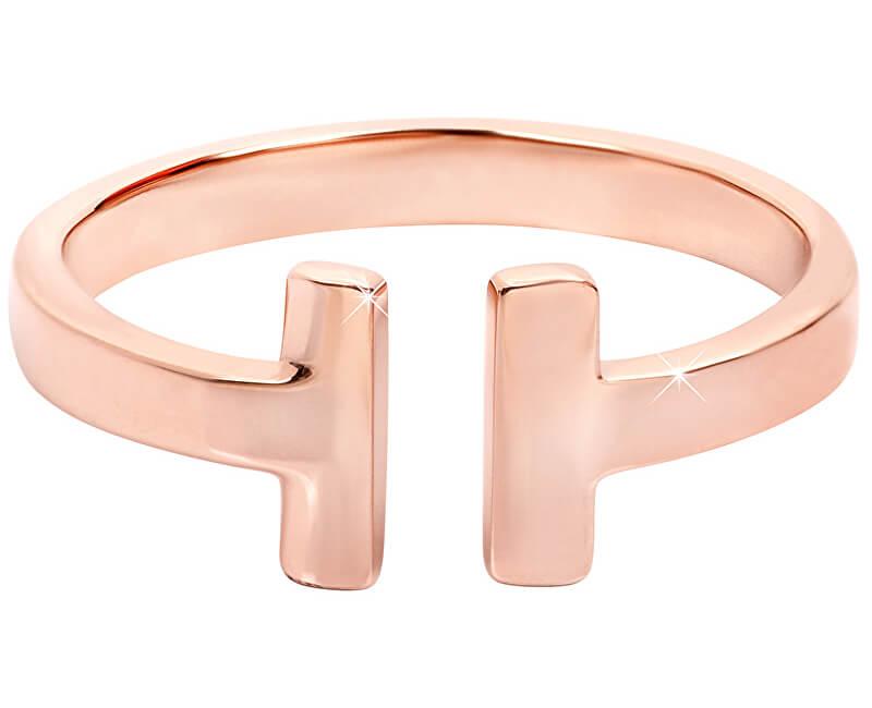 Troli Otevřený růžově pozlacený prsten z oceli