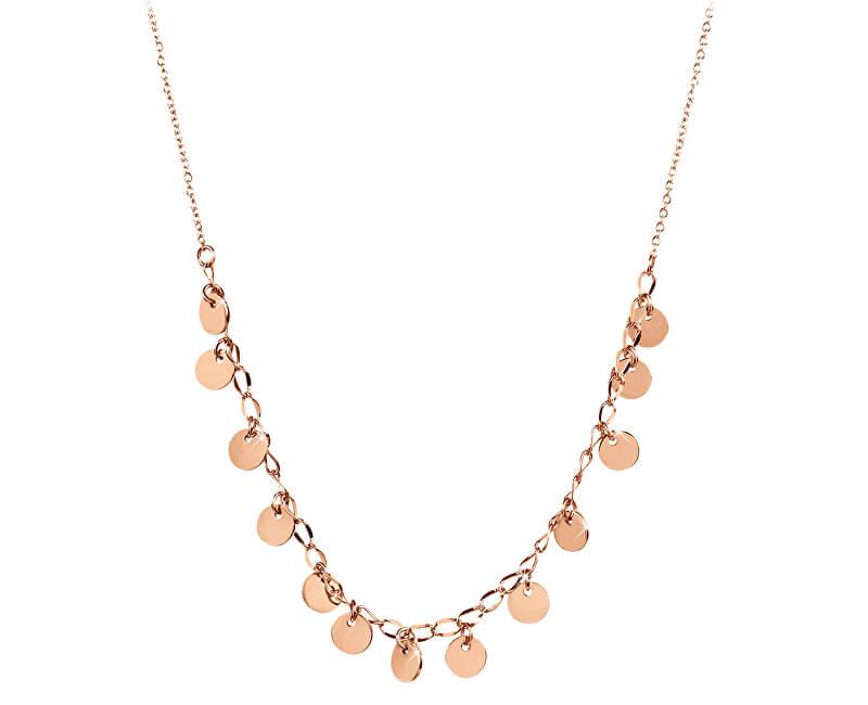 Troli Penízkový náhrdelník z růžově pozlacené oceli