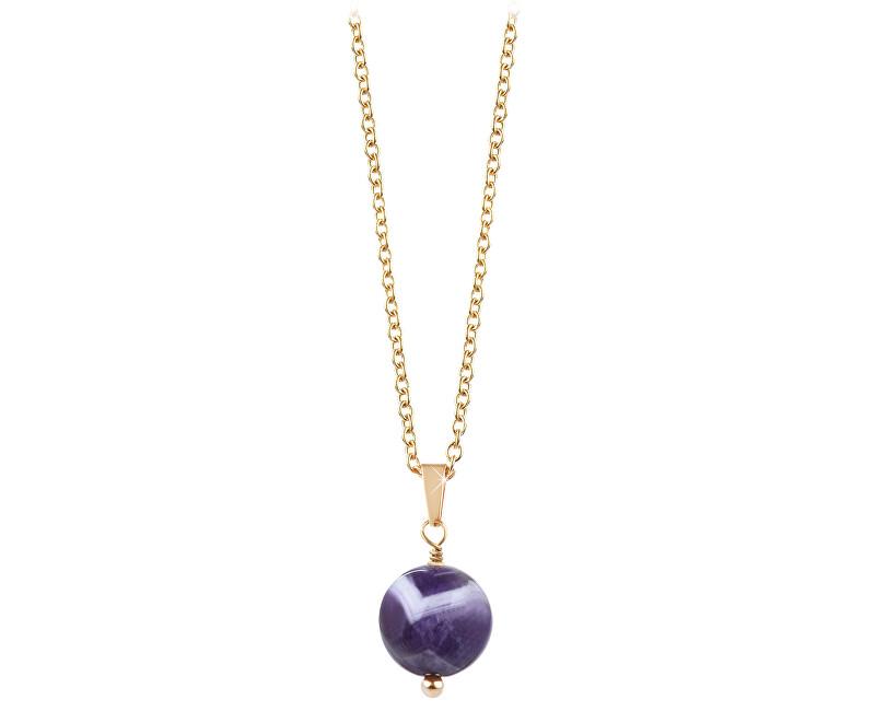 Troli Pozlacený náhrdelník s ametystem