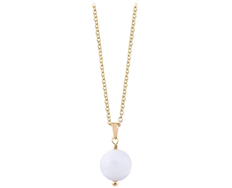 Troli Pozlacený náhrdelník s bílým achátem