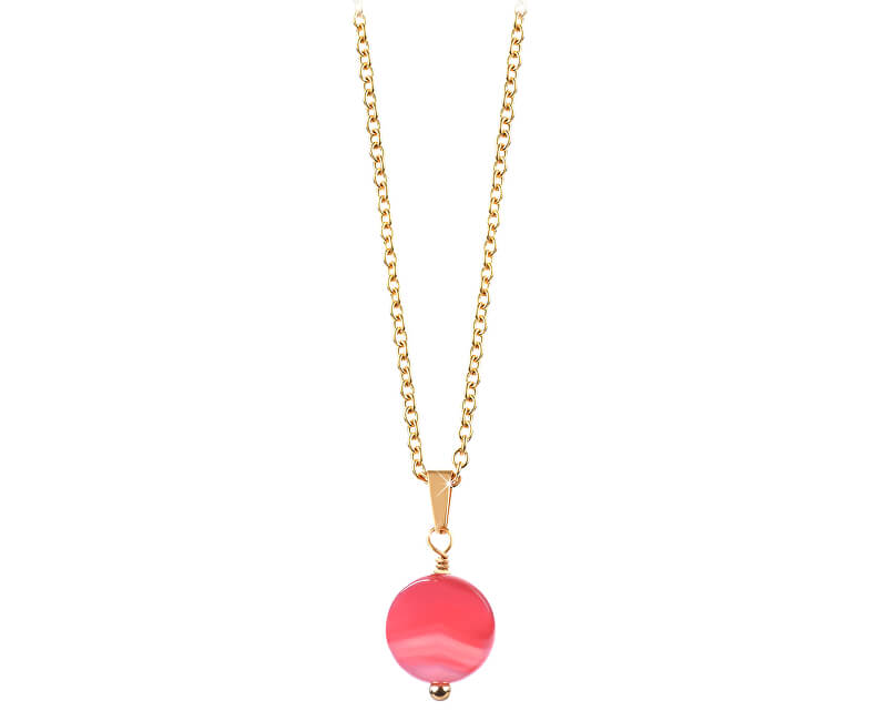 Troli Pozlacený náhrdelník s růžovým achátem