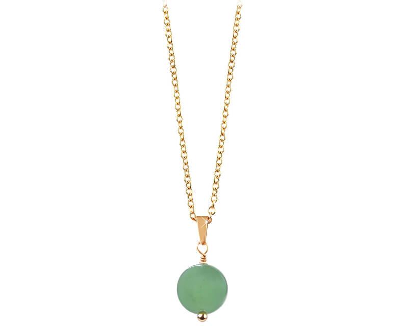 Troli Pozlacený náhrdelník se zeleným avanturínem