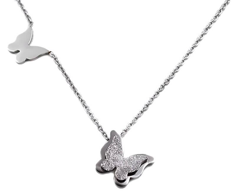 Troli Ocelový motýlí náhrdelník Metal Butterfly KNSC-257-SIL