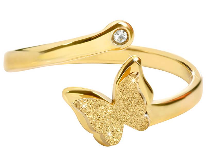 Troli Romantický pozlacený prsten s motýlkem
