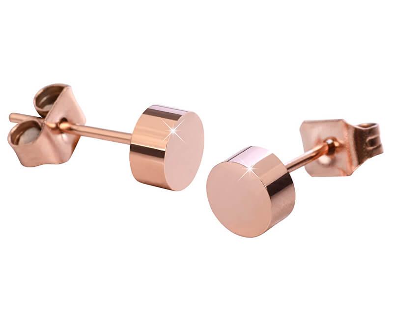 Troli Růžově pozlacené ocelové náušnice pecky KE-005