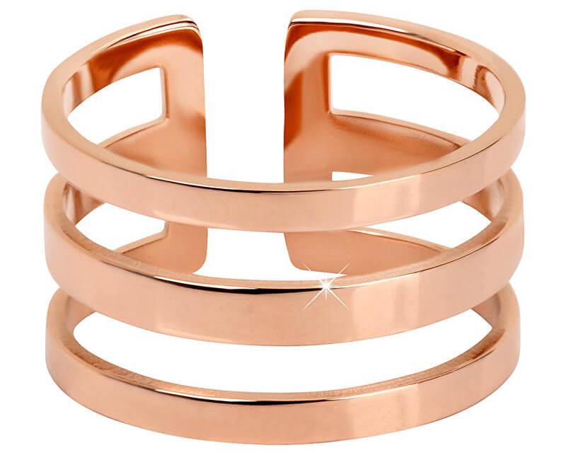 Troli Stylový trojitý prsten z růžově pozlacené oceli