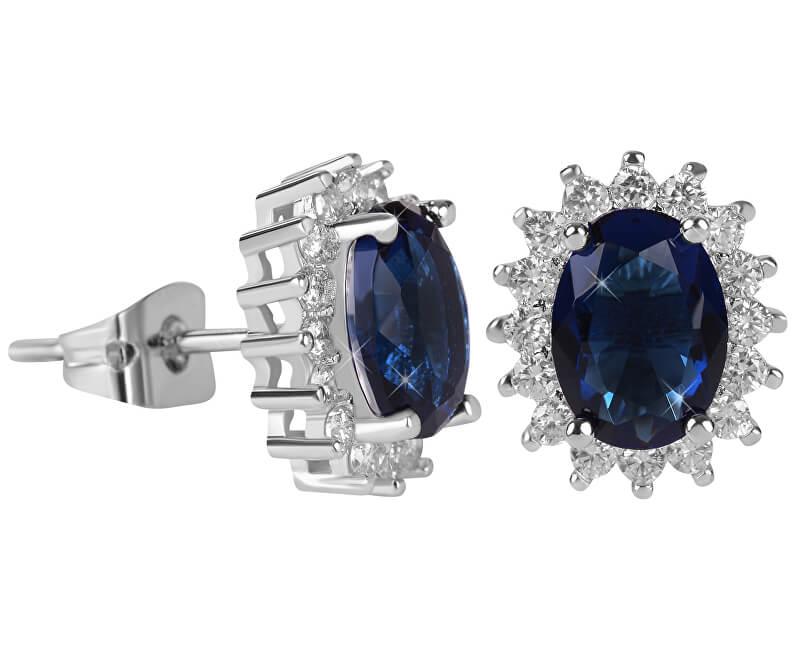 Troli Třpytivé náušnice s modrými krystaly
