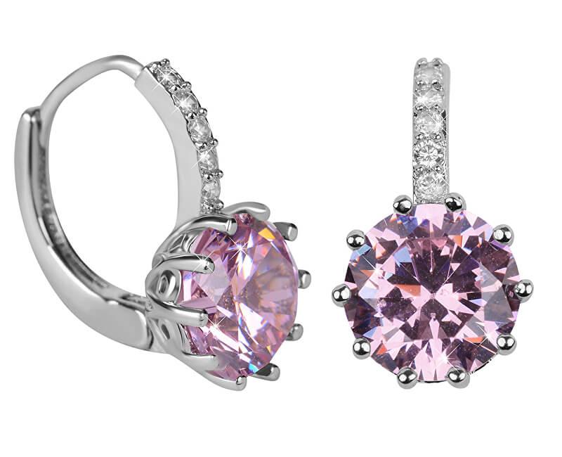 10b79e52e Csillogó fülbevalók rózsaszín kristályokkal