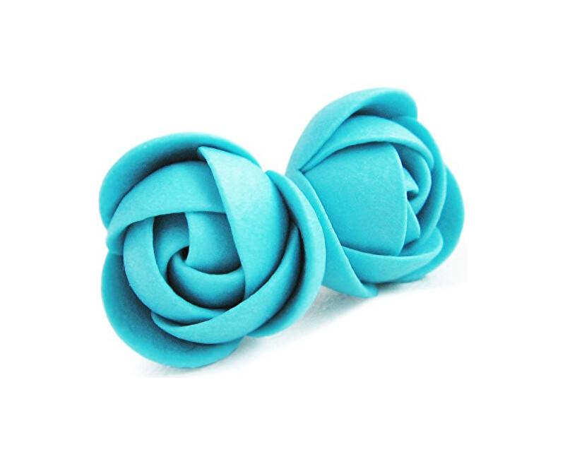 Troli Tyrkysové náušnice puzetky kytičky