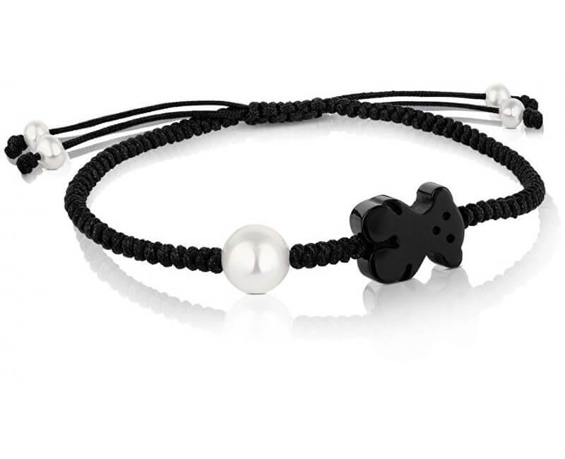 Tous Black brățară cu urs de onix și perlă reală 616481020