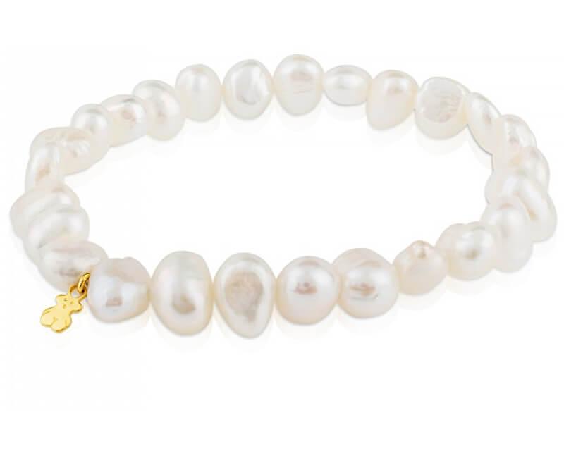 Tous Náramek z pravých perel se zlatým medvídkem 617091020